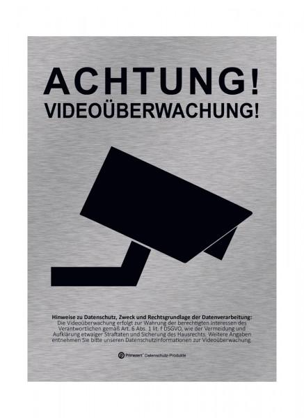 Datenschutz-Aufkleber | Achtung! Video-Überwachung | DIN A6 Alu-Design